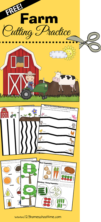 Farm Cutting Practice! Super cute free printable with not only lots of cutting practice, but also practice matching baby/mommy animals, sorting vegetables, matching shapes and more! Stuff for Toddler, Preschool, Kindergarten, and 1st grade!