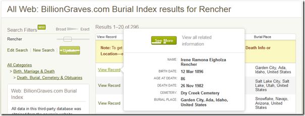 Ancestry.com.搜索结果为十亿彩色数据库