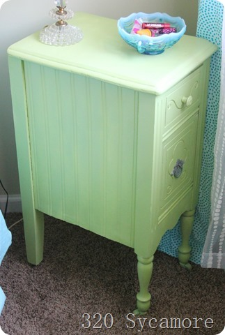 beadboard wallpaper on nightstand