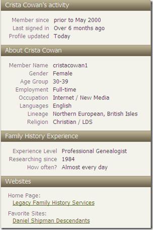关于Crista Cowan,Ancestry.com个人资料