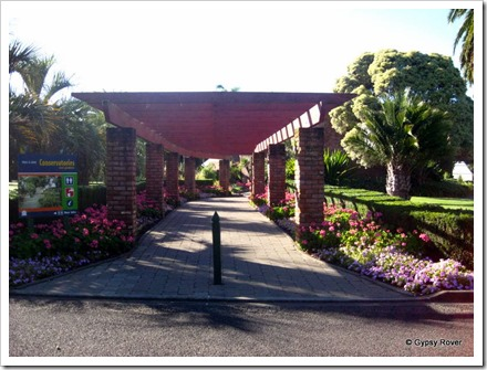 Walkway to the Conservatories in Bason Botanical Gardens, Mowhanau.