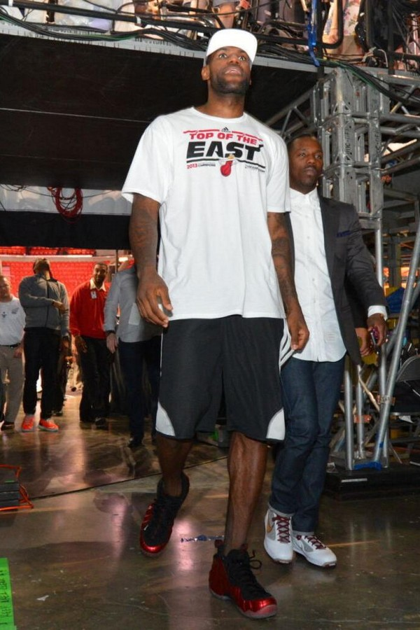 53d7d47ab38 James Wears Red Foams Postgame amp Equips Team LeBron in Game 7 ...