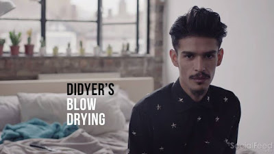 Most guys dont blowdry their hair but Didyer has his smooth method