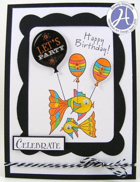 Beverly Sizemore Hampton Art January Project One Party Fish Card