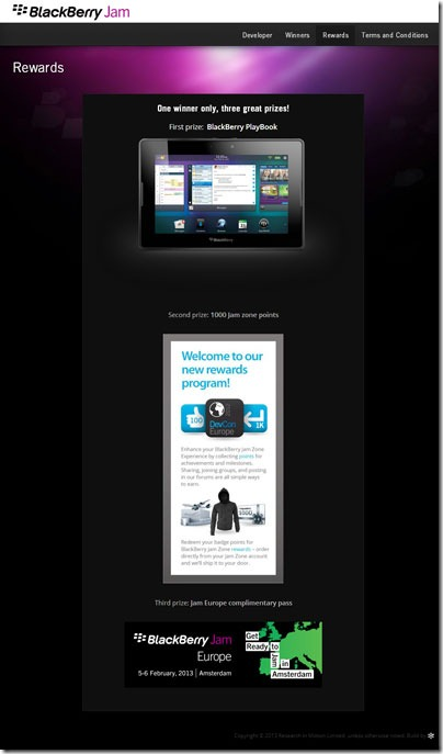 Rewards BlackBerry Jam Apps