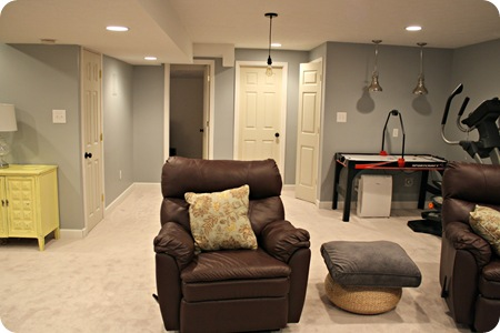 basement blue gray walls