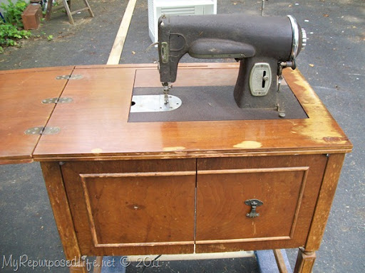 remove vintage sewing machine & Sewing Cabinet featuring Annie Sloan Chalk Paint - My Repurposed Life®