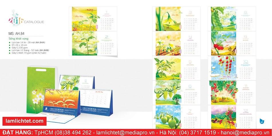 In Lịch Để Bàn Đẹp,TpHCM Hà Nội, Mẫu Lịch Bàn AH84 Sống Khát Vọng