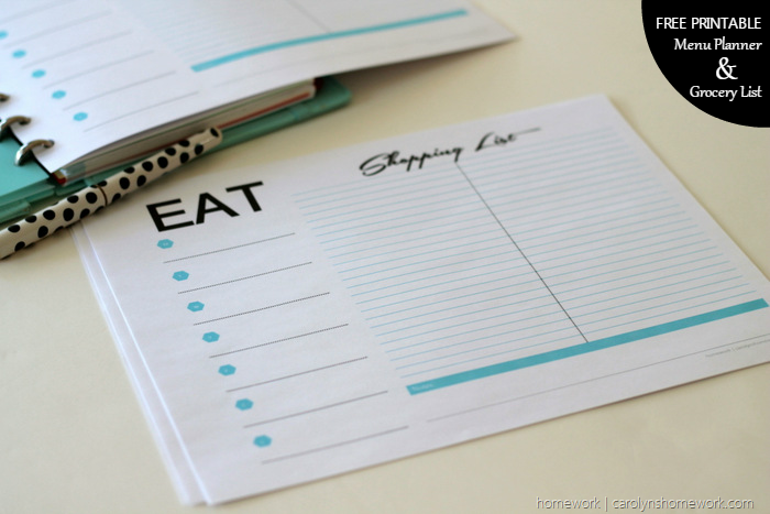 Free Printable Menu Planner & Grocery List via homework (4)
