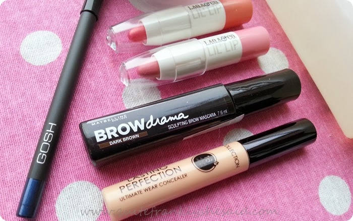 Maybelline Brow Drama Collection concealer GOSH eye liner LAQA lip pencil