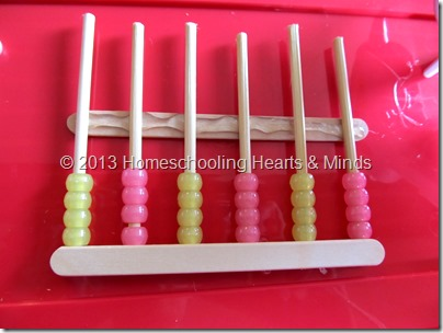 step 8 for making your own abacus @Homeschooling Hearts & Minds