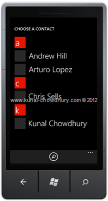 Image 1: How to Retrieve Contact Information in WP7 using the AddressChooserTask?