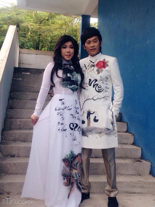 Bộ sưu tập áo dài mùa Vu Lan , vợ chồng Sáu