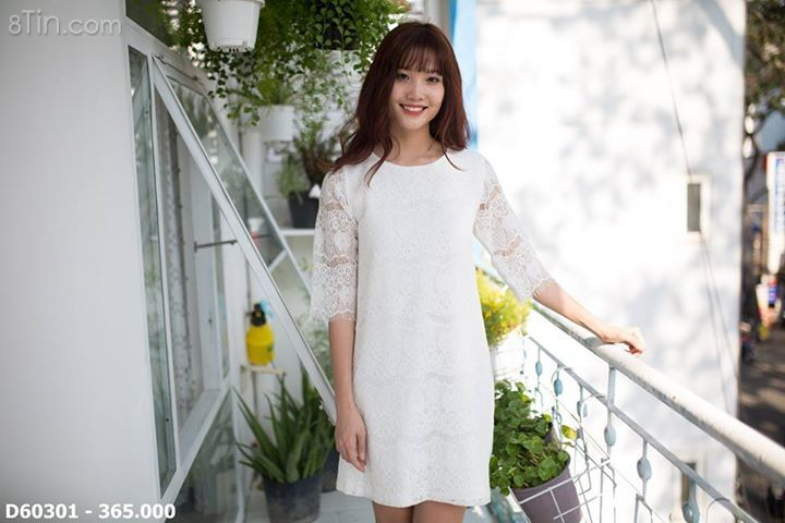 Đầm suông ren tay lỡ_ trắng kem D60301