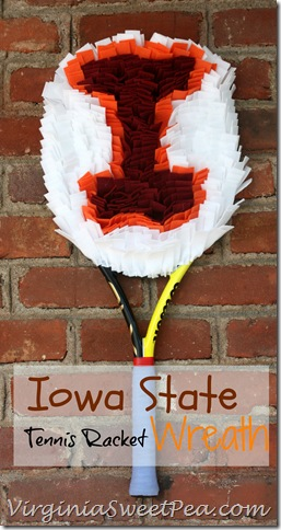 Iowa State Tennis Racket Wreath - Use an old or broken tennis racket to make a school pride wreath that can hang on a wall or door.