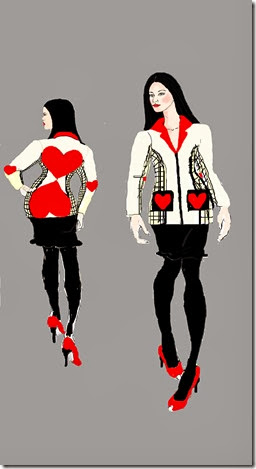 front and back febuary coat illustration view 2 with tights