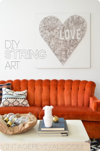 DIY Heart String Art @Vintage Revivals & String Art Love and My Secret For PERFECTLY Edged Art! u2022 Vintage ...