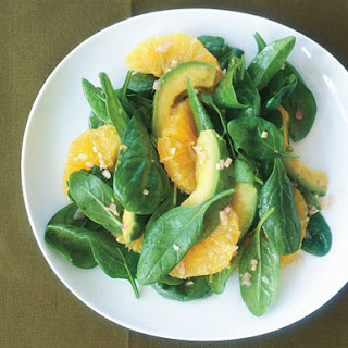 Asian Spinach Salad with Orange and Avocado.