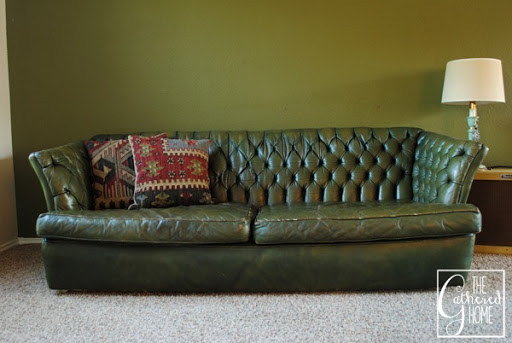 Green Tufted Leather Sofa 2