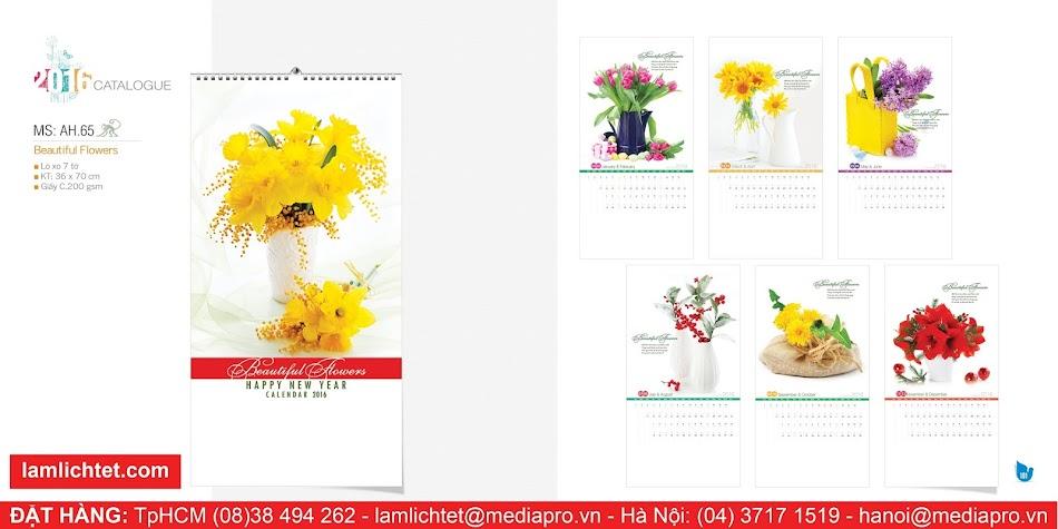 Mẫu Thiết Kế Lịch Treo Tường Đẹp Rẻ: Lịch 7 Tờ Lòxo AH65 - Beautiful Flowers