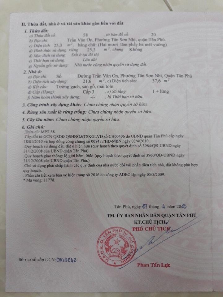 Bán nhà hẻm đường Trần Văn Ơn Quận Tân Phú, diện tích 3,08mx9m, 1 trệt 1 lầu, giá 2,35 tỷ.2