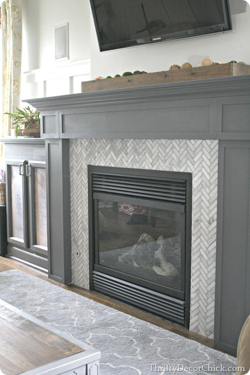 Herringbone Tile Gray Fireplace
