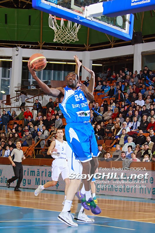 Evan Ravenel tries to score two points in the FIBA EuroChallenge game between BC Mures from Romania and Rilski Sportist from Bulgaria played at City Arena in Tirgu Mures on December 17th, 2013.