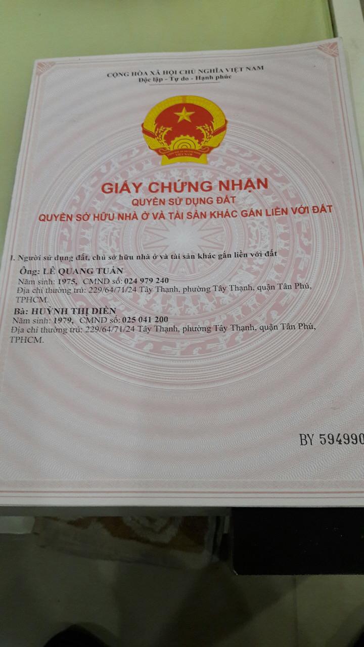 Bán nhà 1 trệt 1 lầu hẻm đường Tây Thạnh Quận Tân Phú, diện tích 23m2-1