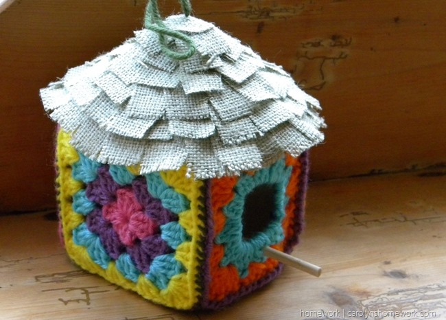 Granny Square Crocheted Birdhouse via homework | carolynshomework.com