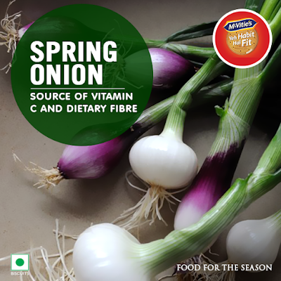 Spring Onion is a source of Vitamin C and dietary Fibre which