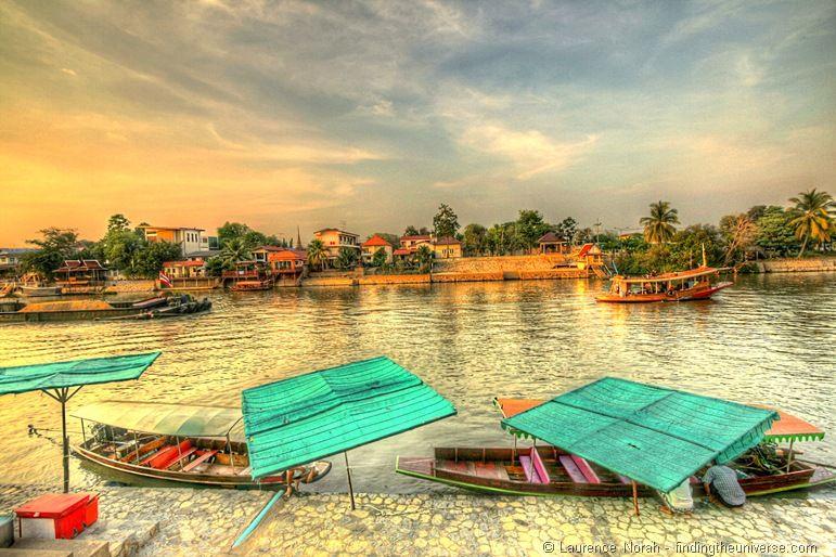 Boats on Chao Phraya River at sunset