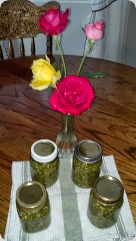4 Roses from our Rose Garden, 4 Pints of Jalapeno Relish from the Veg. Garden