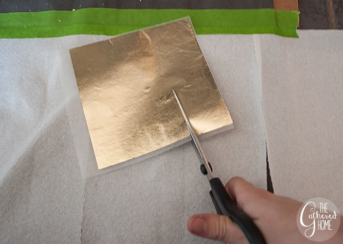 cut gold leaf sheets into strips