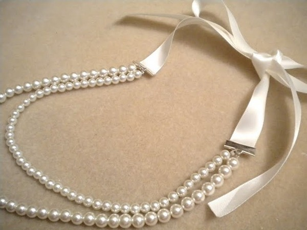ribbon pearl necklace tutorial