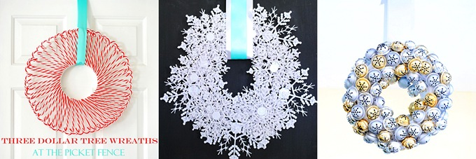 Candy Cane Dollar Tree Wreath from At The Picket Fence