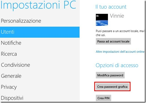 Windows 8 Crea password grafica