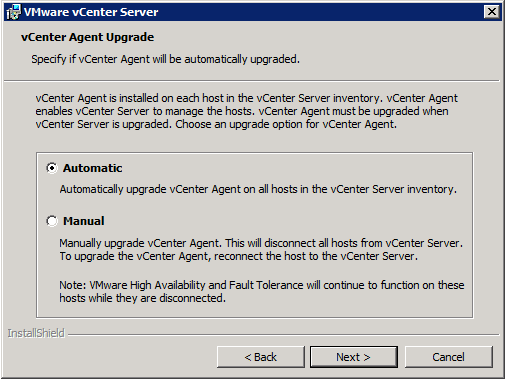 VMware vCenter Server Installer - vCenter Agent Upgrade