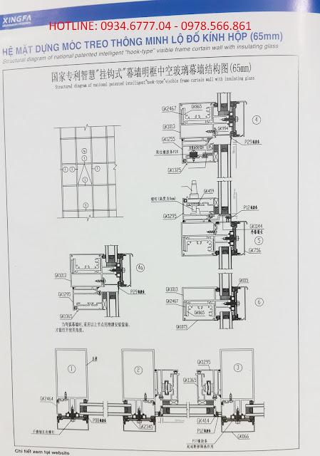 Kết cấu mặt dựng nhôm XIngfa hệ 65-03