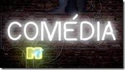 logotipo Comédia MTV: escrito com letras em luninosos de neón