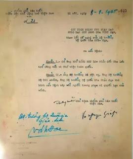 Sắc lệnh số 21 (8-9-1945) do ông Võ Nguyên Giáp ký cử ông Ngô Đình Nhu làm Giám đốc Nha Lưu trữ và Thư viện toàn quốc theo đề nghị của Bộ trưởng Bộ Quốc gia Giáo dục.