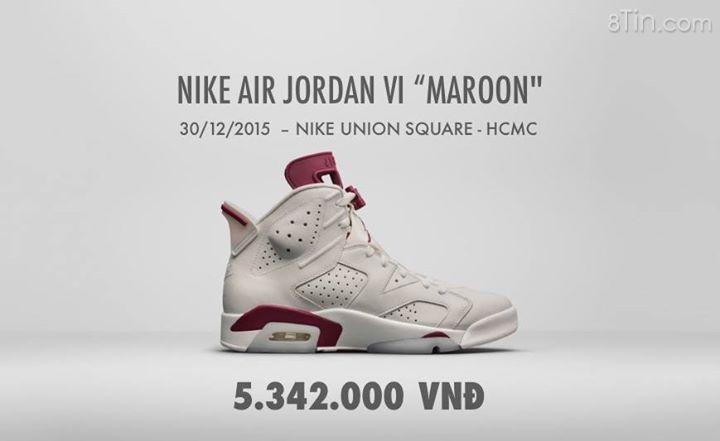 """Như vậy là giá bán lẻ của Nike Air Jordan VI """"Maroon"""""""