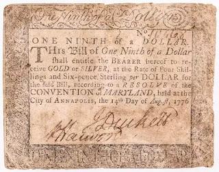 Tiền giấy 1/9 đô la thời độc lập 1776.