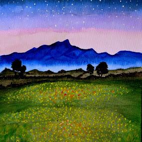 Starry Night by Mili Shrivastava - Painting All Painting ( field, stars, night )