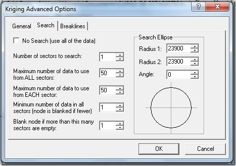 F21 Kriging Advanced Options Search