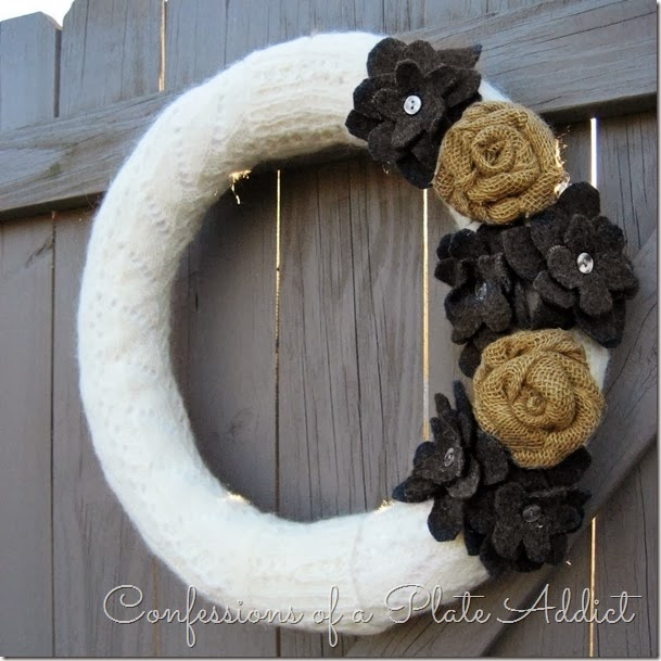 Easy No Sew Sweater Wreath by Confessions of a Plate Addict
