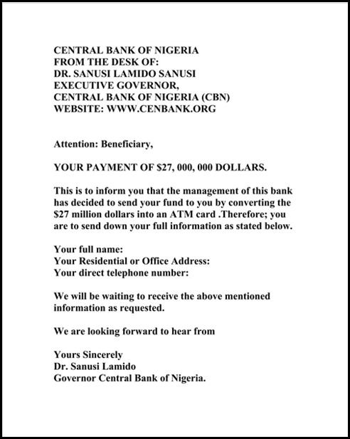 Fraud Email Impersonating Governor of Central Bank of Nigeria