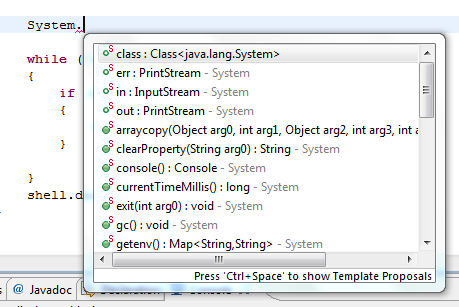 Eclipse Java Intellisense