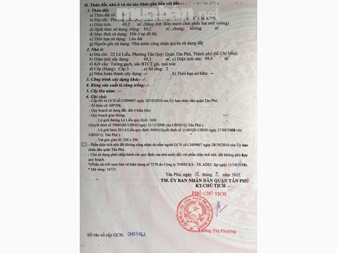 Bán nhà mặt tiền đường Lê Liễu Quận Tân Phú - nhà 2 Mặt Tiền Lê Liễu, dt 4,04x15, hướng Đông Nam 3