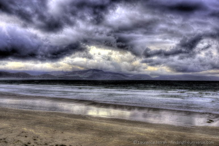 Dingle Peninsula planing inch beach ireland surfing clouds rain moody