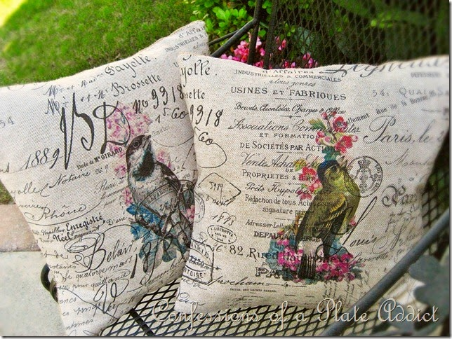 CONFESSIONS OF A PLATE ADDICT  Vintage French Script Bird Pillows